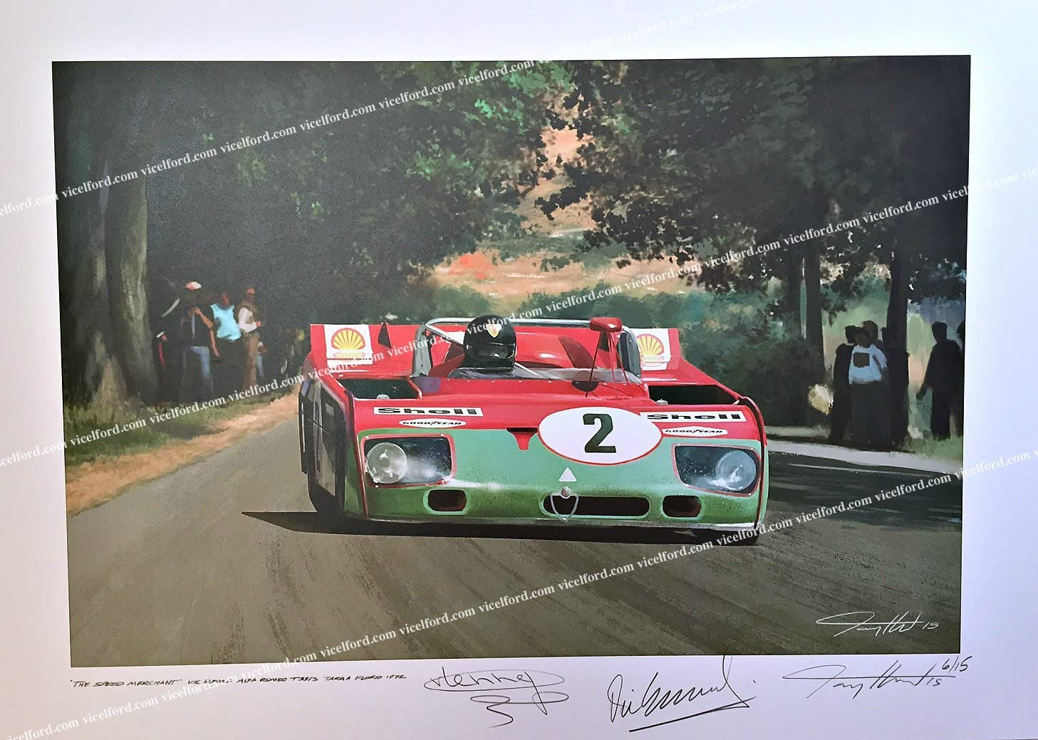 Alfa Romeo Tipo 33 – Targa Florio 1972 – Art print Autographed by featured drivers Vic Elford and Gijs van Lennep + the Artist.