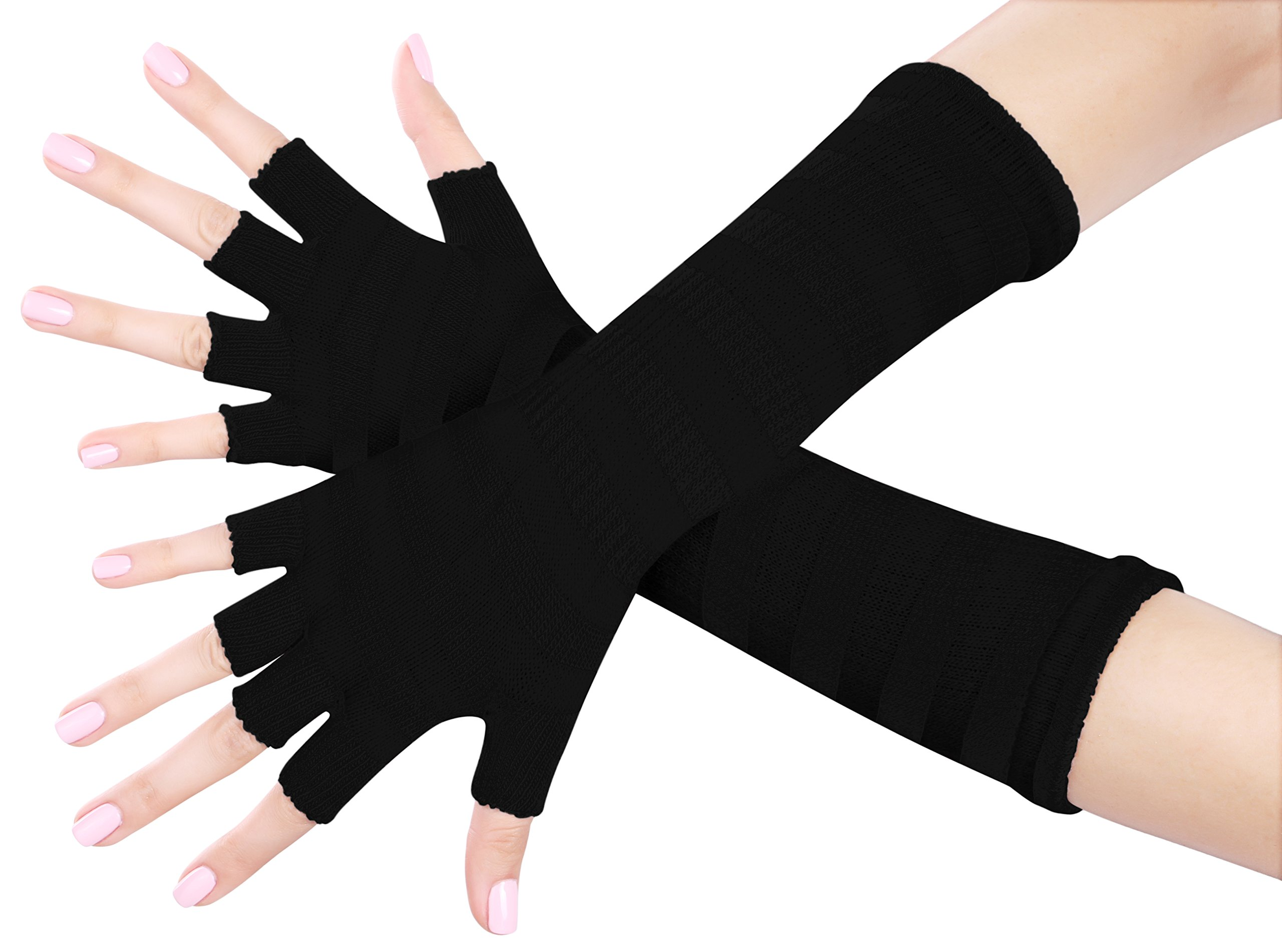 Nice Shades Ladies 16 Inch Fingerless Gloves (Many Colors Available) (Solid Black)
