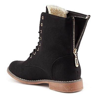 Parelia London Damen Schnür Stiefel Reißverschluss Warm Gefüttert  Stiefeletten Biker Boots  Amazon.de  Schuhe   Handtaschen 6577bec875