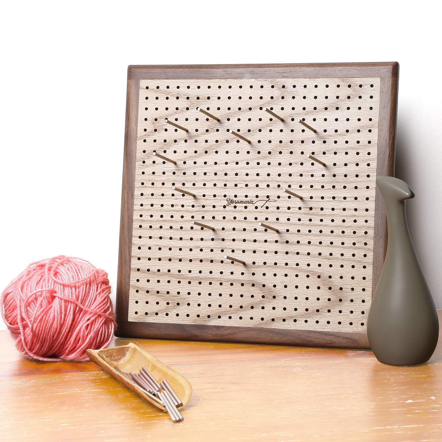 Yarn Mania - Premium Blocking Boards for Knitting with Grids - Handcrafted Wood Crochet Blocking Board with 20 Stainless Steel Pins (9 inches)