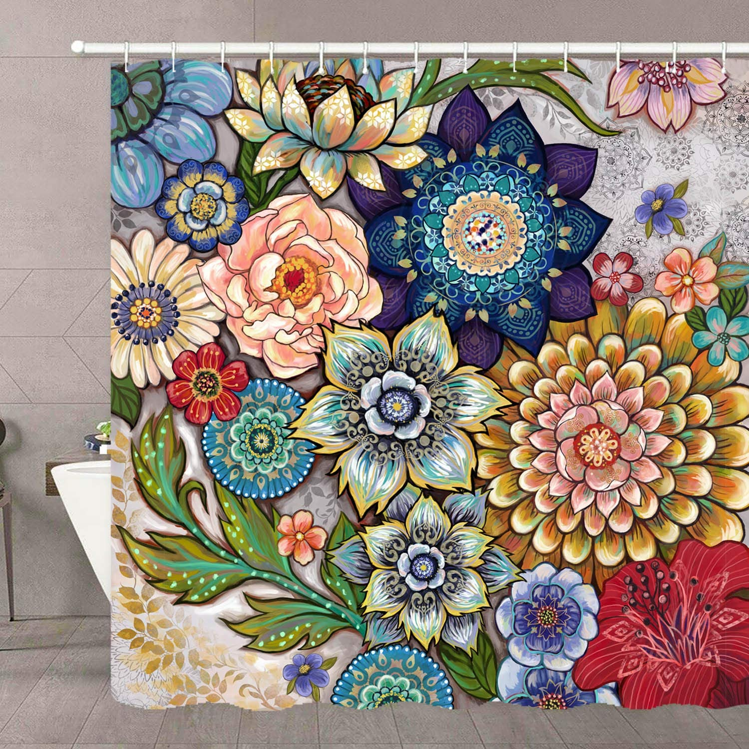 Neasow Boho Floral Shower Curtains for Bathroom, Bright Fabric Blossom Shower Curtain with 12 Hooks, Multi Color 72