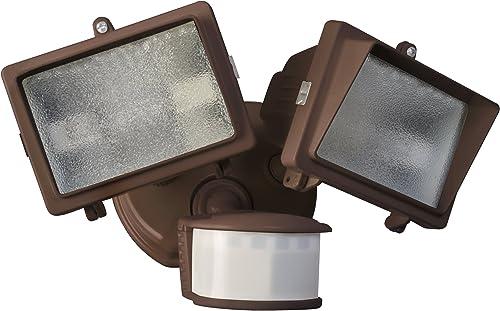 Designers Edge L6008BR L-6008Br Twin Head Motion Activated Flood Light, 120 V, 300 W, Halogen, 150 W, 300-Watt, Bronze