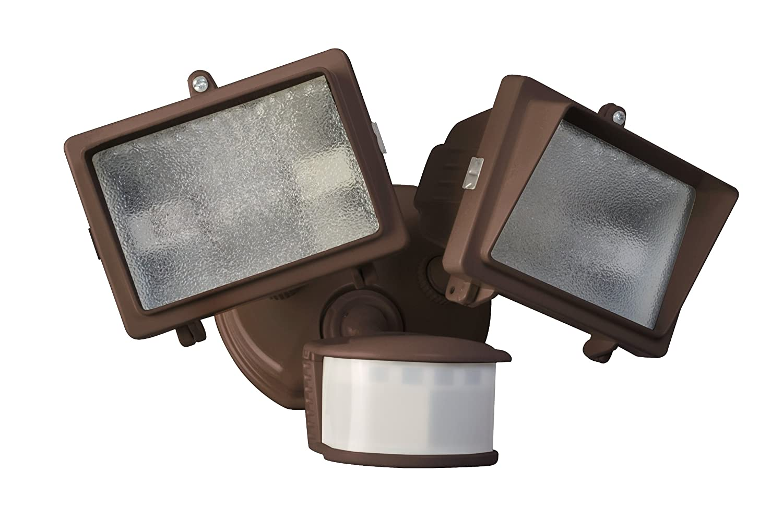 300 W Designers Edge L6008BR L-6008Br Twin Head Motion Activated Flood Light 120 V 150 W 300-Watt Bronze Halogen