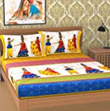 Ealth Kart 144 TC 100% Cotton Rajasthani Jaipuri Traditional King Size Double Bedsheet with 2 Pillow Covers