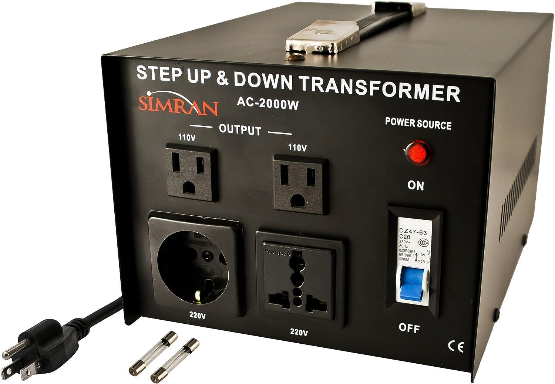 Simran AC-2000 Step Up/Down Voltage Converter Transformer 110V/220V - 2000 Watts,Black