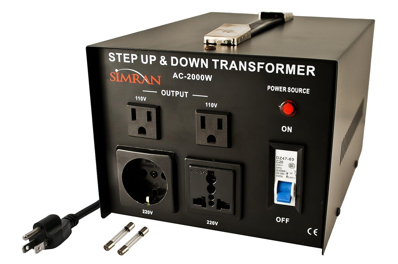 Simran Ac 2000 Step Up Down Voltage Converter Transformer 110v 220v 220 Plug Wiring Watts Electrical Boxes