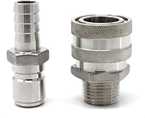 CONCORD 304 Stainless Steel Quick Disconnect Barb Hose with MPT Set. Home Brewing Mash Tun. (Barb Male/MPT Female)