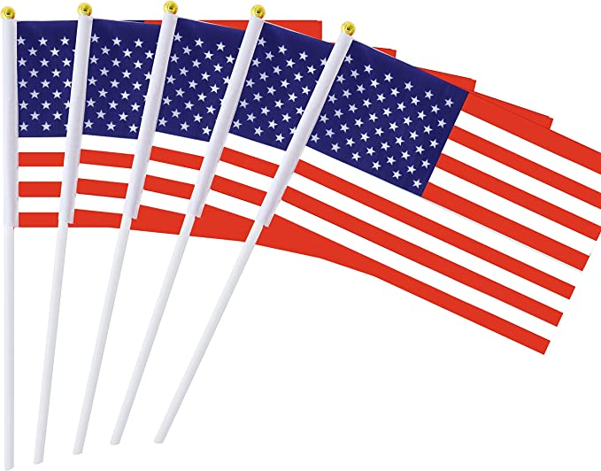 36Pack Handheld Small American Flags And Sticks With Round Top Wooden Handle