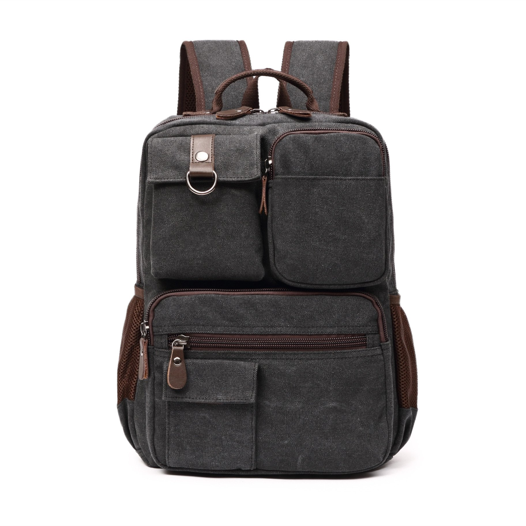 16 Inch Canvas Crossbody Sling Bag Small Backpack for Work and Daily Use (black)
