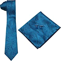 Men's Necktie + Stone Cufflinks+ Pocket Square Collections in Handcrafted Designer Gift Box