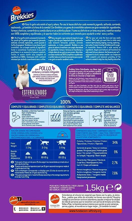 Brekkies Pienso para Gatos Esterilizados con Pollo - 1500 gr: Amazon.es: Alimentación y bebidas