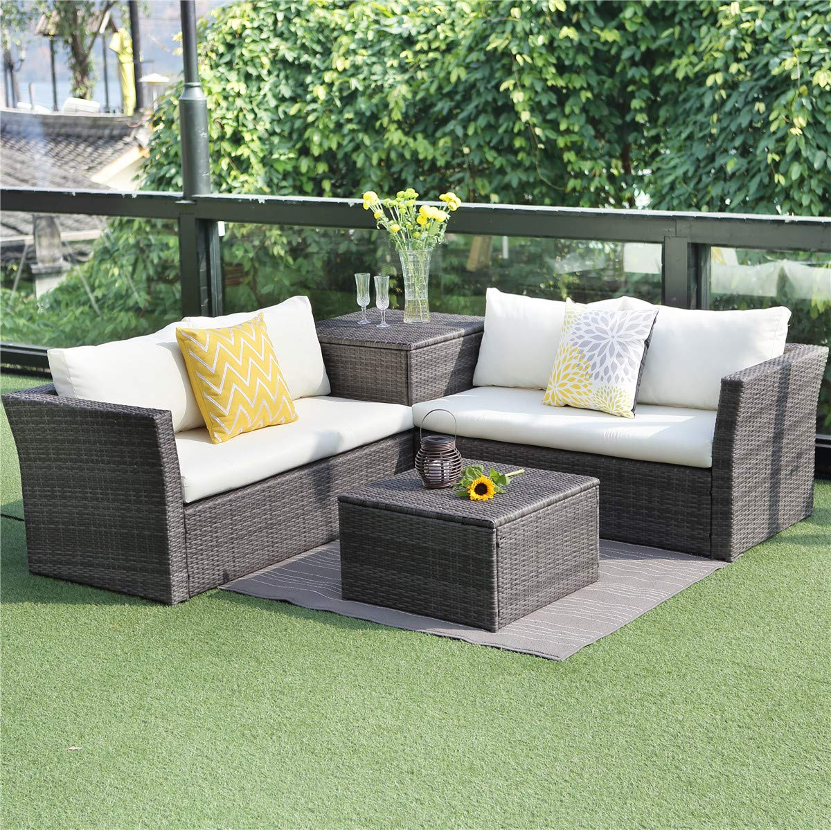Wisteria lane outdoor patio furniture set 4 piece sectional sofa couch conversation set loveseat with storage table all weather grey wickerbeige cushion