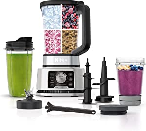Ninja SS351 Foodi Power Pitcher System, Smoothie Bowl Maker, 4in1 Blender + Food Processor, Single Serve Blender 1400WP smartTORQUE 6 Auto-iQ Presets (Renewed)