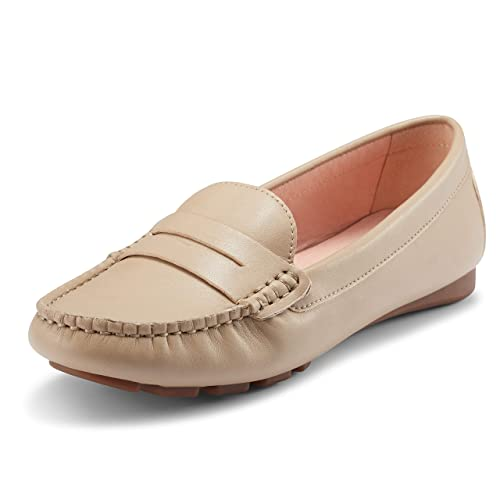 5c25f5a99e46 JENN ARDOR Women s Flat Loafer Ladies Casual Moccasin Shoe Low Wedge Heel  Work Shoes Size 3-8  Amazon.co.uk  Shoes   Bags