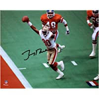 "$134 » Jerry Rice San Francisco 49ers Autographed 8"" x 10"" Hands Up vs Broncos Photograph…"