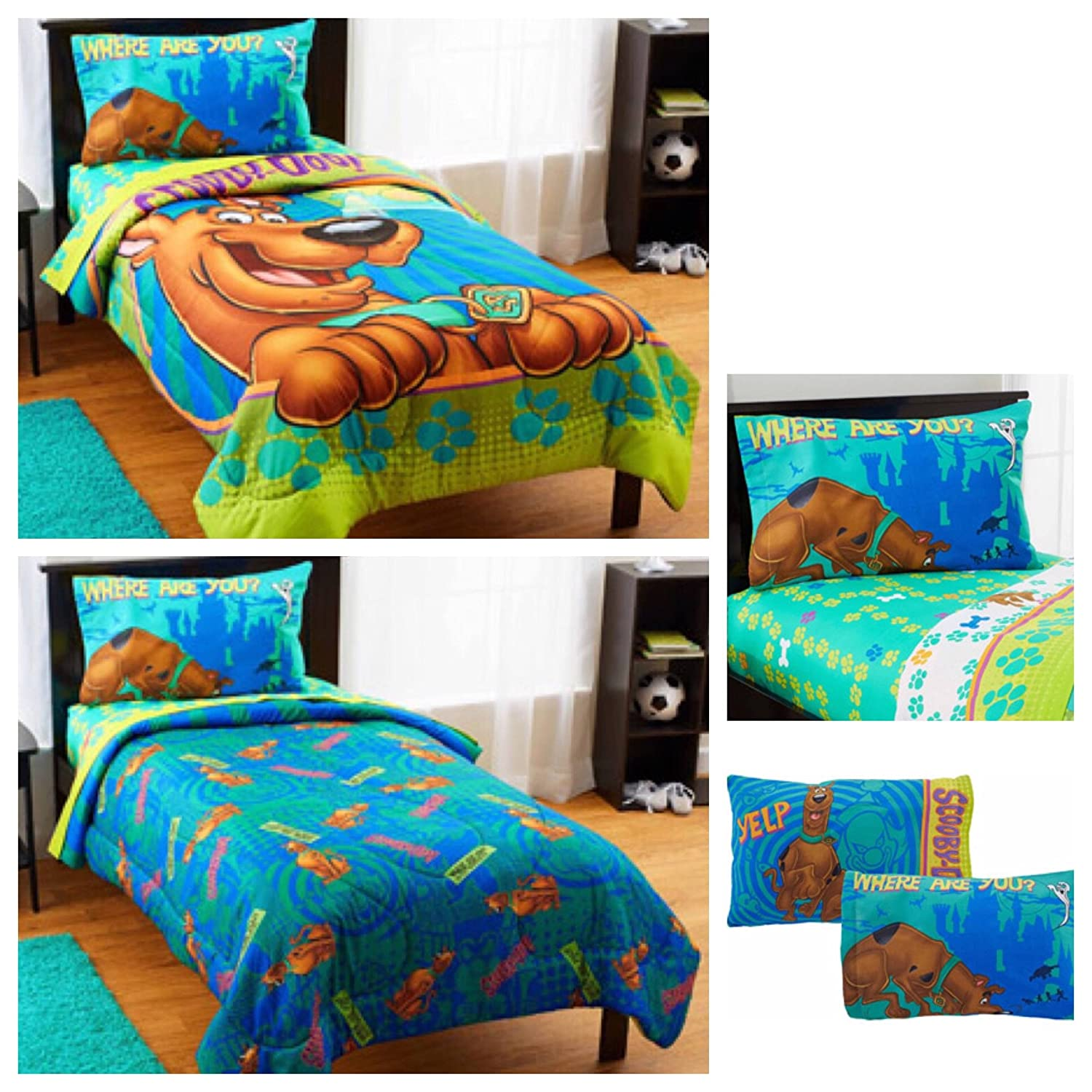 Amazon.com: Scooby Doo 4 Piece Bed In A Bag Twin Bedding Set   Reversible  Comforter, Sheets And Pillow Case: Home U0026 Kitchen