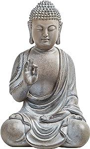 Meditating Buddha Statue, 6.7inch Buddha Serene Decorative Sitting Figurine Zen Sculpture Decoration for Home Indoor Outdoor Garden Patio Desk Porch Yard Art Decoration, Zen Decor (Waterproof)