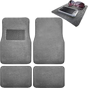 TLH Carpet Car Floor Mats Univesal Fit with Heel Pad, Gray Color w/Black Dash Pad