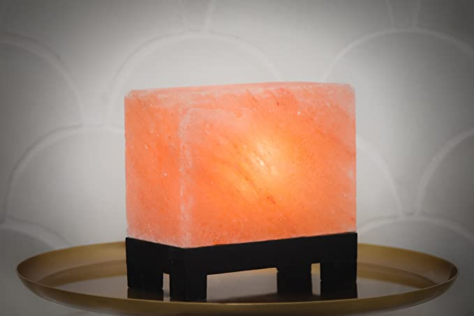 Amazon.com: 100% Authentic Natural Himalayan Salt Lamp; Hand-Carved Modern Rectangle in Pink Crystal Rock Salt from The Himalayan Mountains; Footed Wood Base, UL-Listed Dimmer Cord + Extra Bulb; 11.5 lbs: Gateway