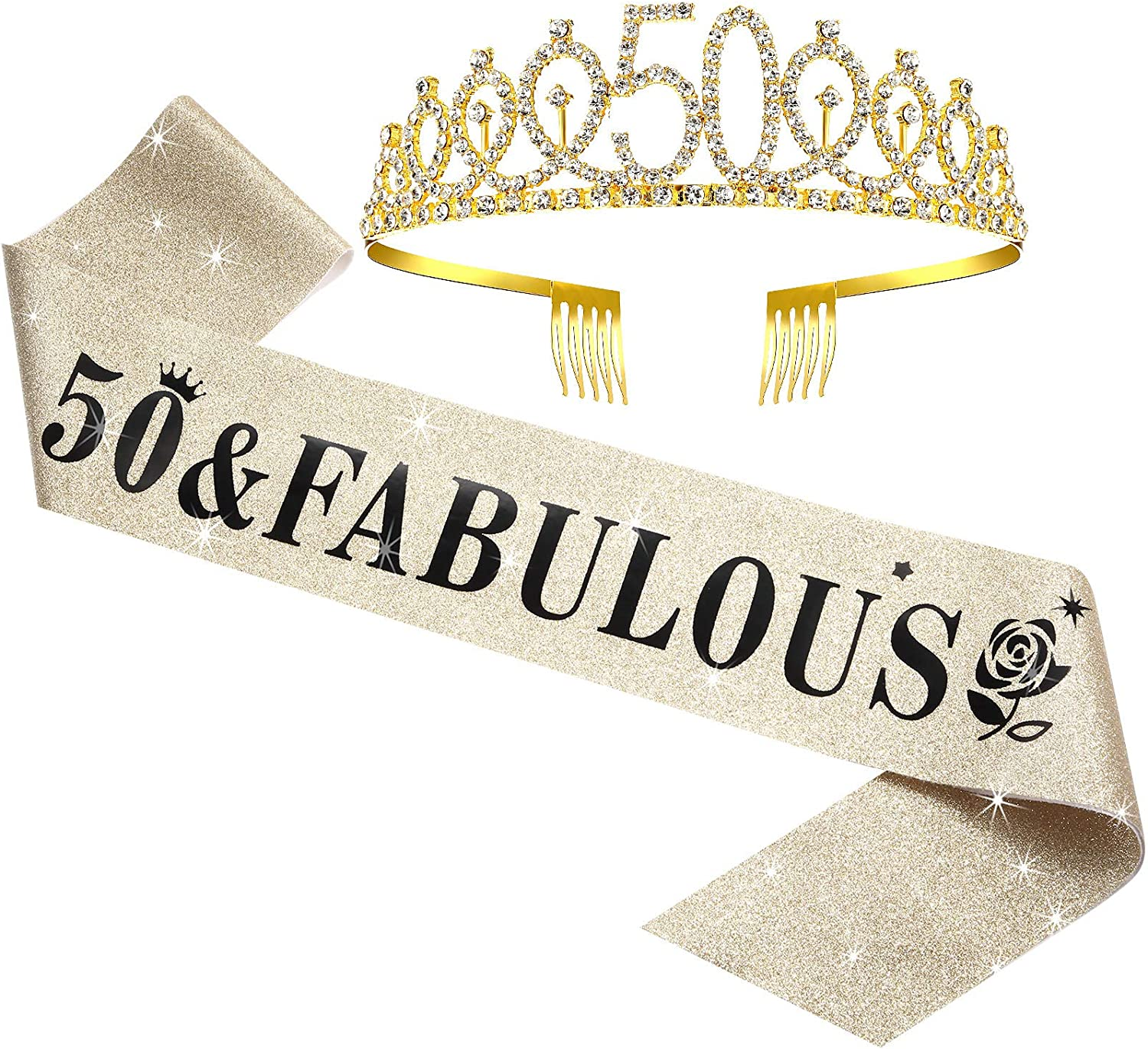 WILLBOND 50th Birthday Sash and Tiara Set for 50th Birthday, 50 & Fabulous Sash and Crown Party Decorations