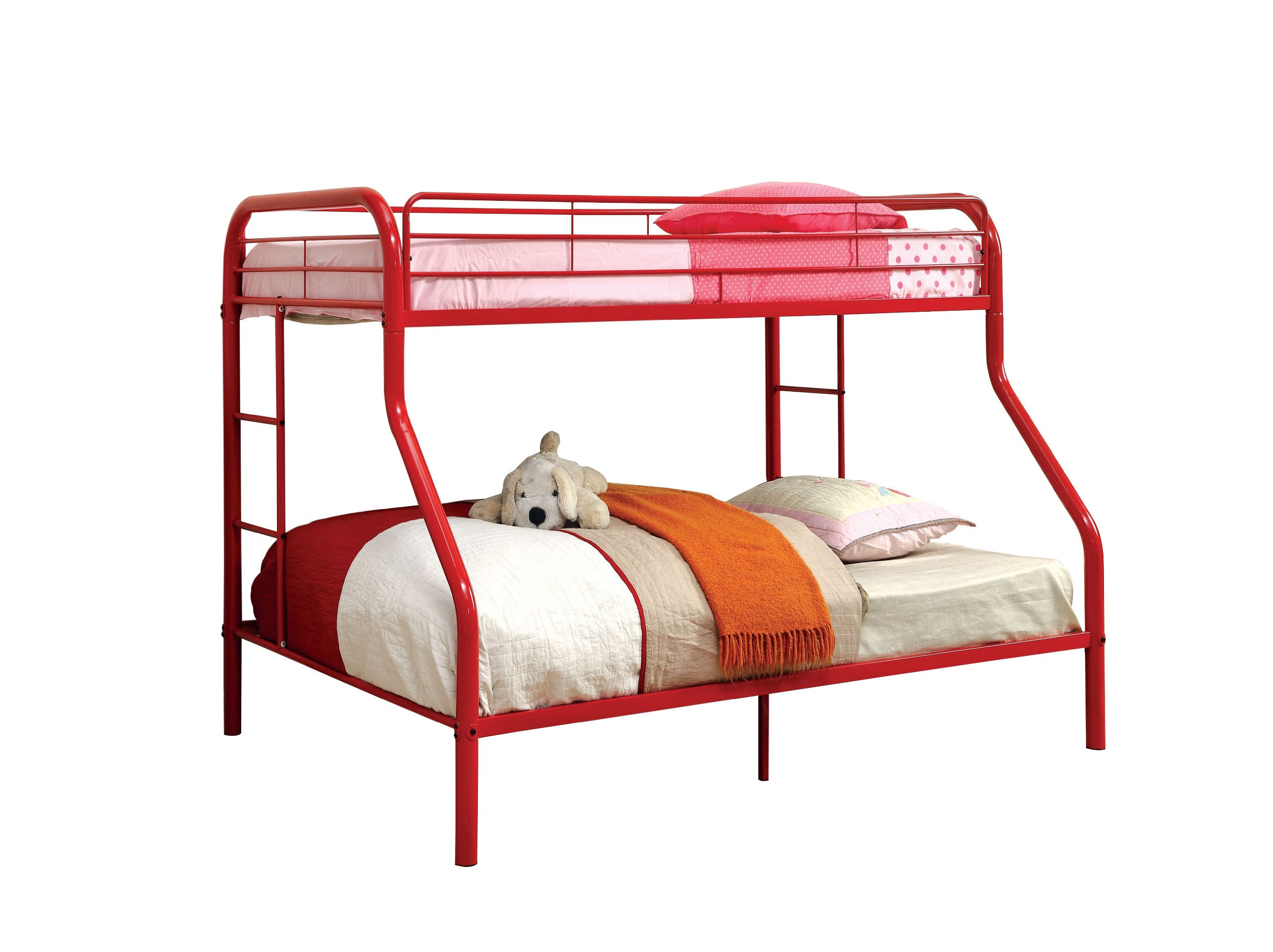 Furniture of America Non-Recycled Metal Bunk Bed, Twin Over Full, Red by Furniture of America