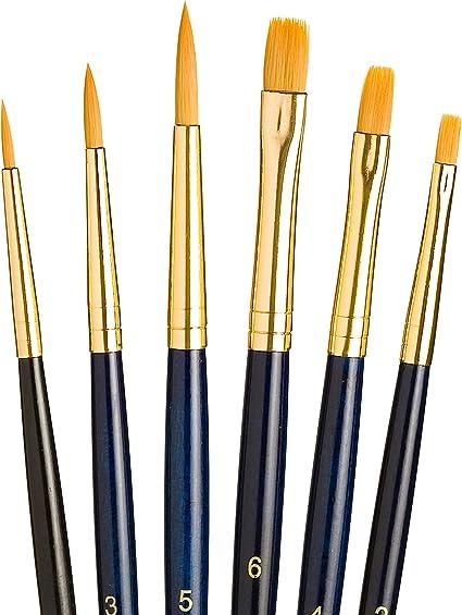 Script Size 1 3 and 5 Gold Taklon Wash Size 3//8 Princeton Art /& Brush Real Value Synthetic Brush Set Round Size 1 Filbert Size 4