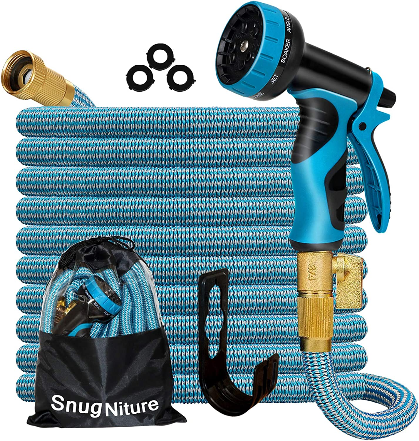 SnugNiture 100FT Expandable Garden Hose with 10 Function Spray Nozzle, Superior Strength 3750D No-Kink Expanding Pipe, Leakproof Lightweight Flexible Water Hose with 3/4