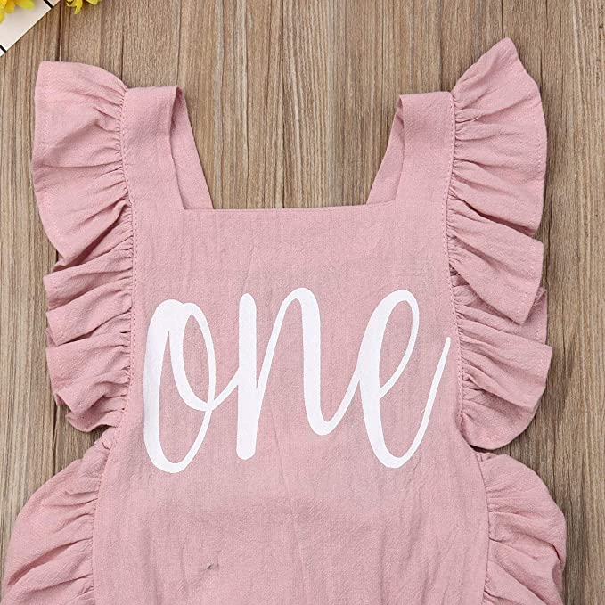 Baby Puloru Little Baby Girl Rose Floral Ruffle Neck Sleeveless One-Piece Romper Jumpsuit Outfits