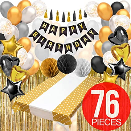 Chalkboard Paper Fan Banner Kit 8 garland Pieces and 60 Inches Black and Gold