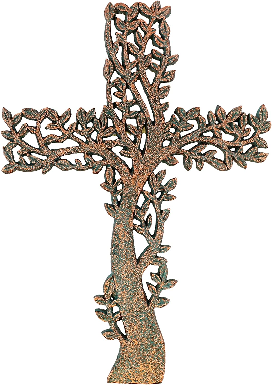 Old River Outdoors Tree of Life Wall Cross - Rustic Copper/Verdigris Look Decorative Spiritual Art Sculpture