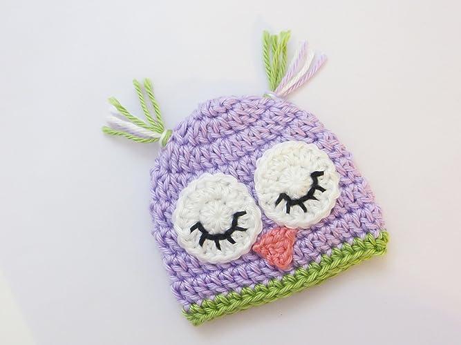 Amazoncom Preemie Hat Purple And Green Sleeping Owl Handmade