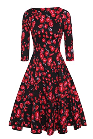 5680c2f7579 ACEVOG 50s Hepburn Style Vintage Long Sleeve Floral Party Cocktail Evening  Dress