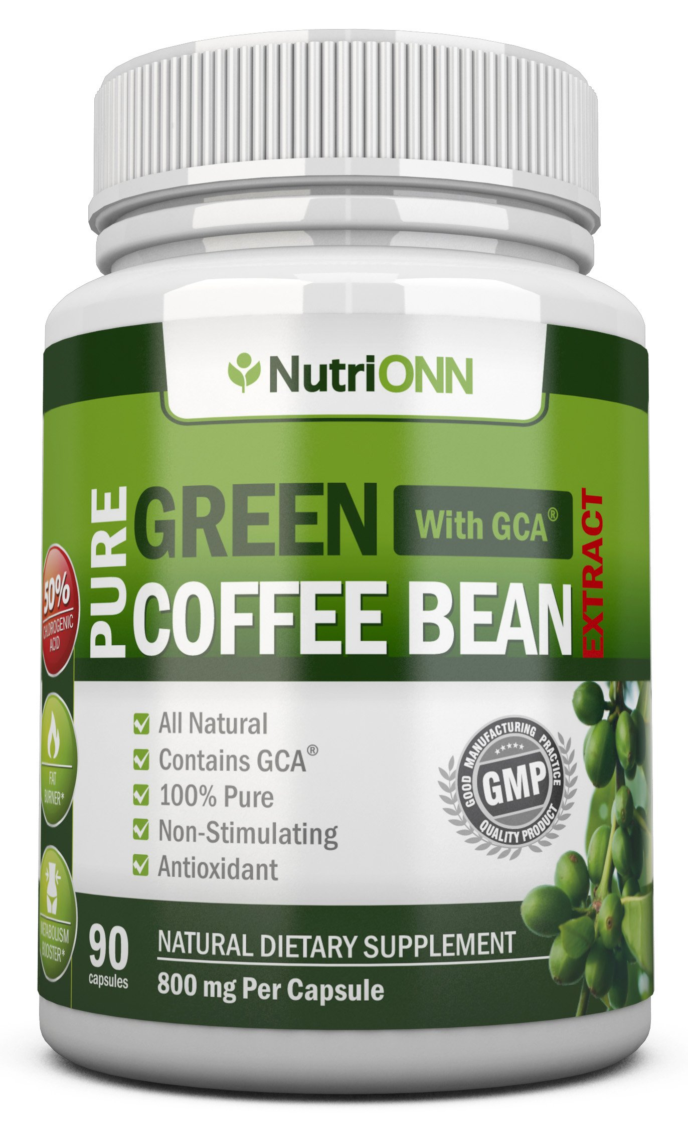 GREEN COFFEE BEAN EXTRACT with GCA, 800mg - 90 Vegetarian Capsules - Best Value For Price! - Highest Quality Pure Natural Coffee Extract for Weight Loss by NutriONN
