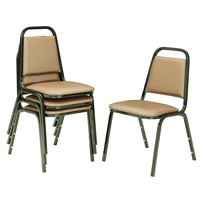 National Public Seating 9101-B-CN NPS Vinyl Upholstered Stack Chair, Steel, Beige (Pack of 4)