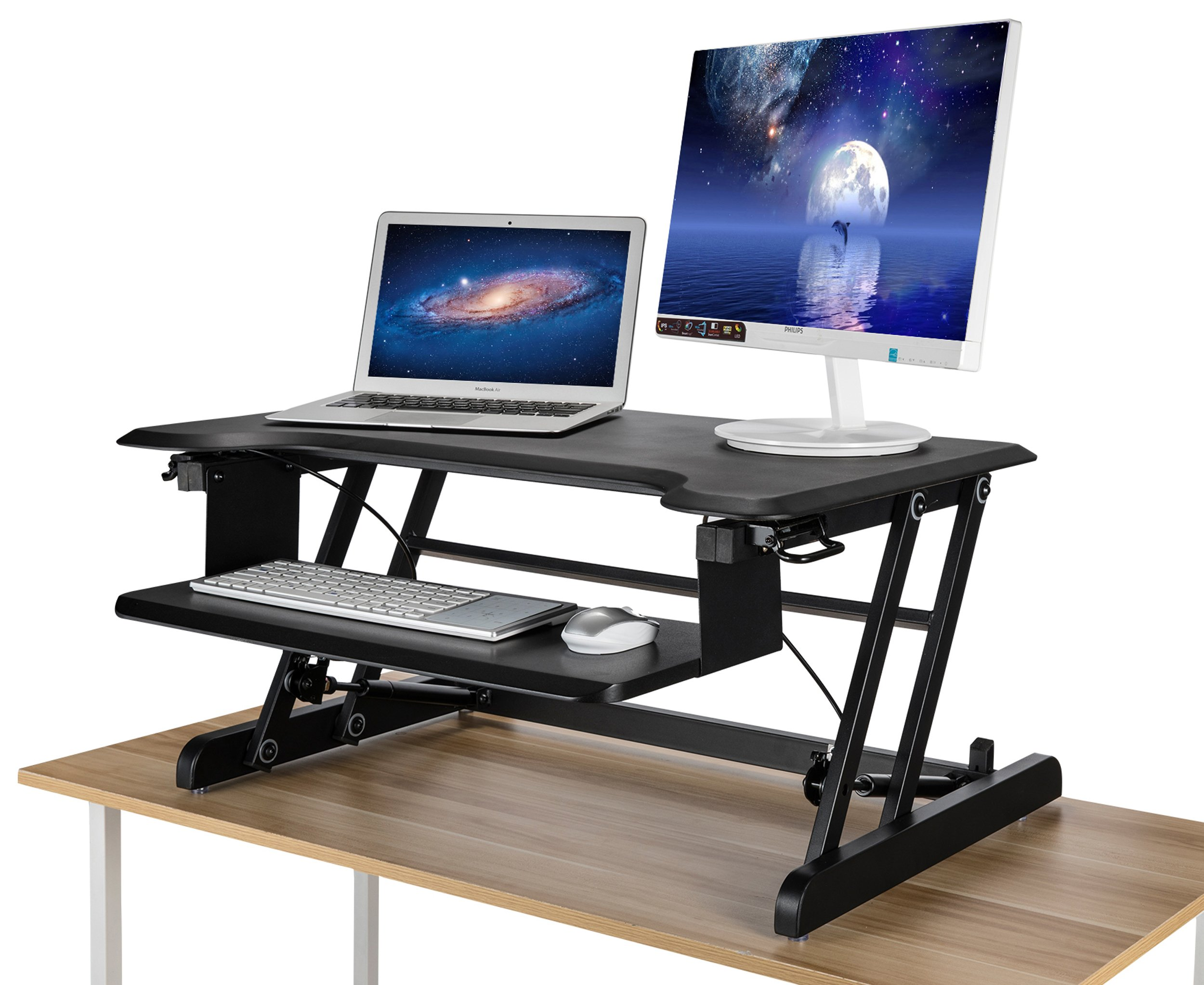 Morros Standing Desk Riser Adjustable Height Desk Converter Elevating Desktop Workstation with Keyboard Tray -Black