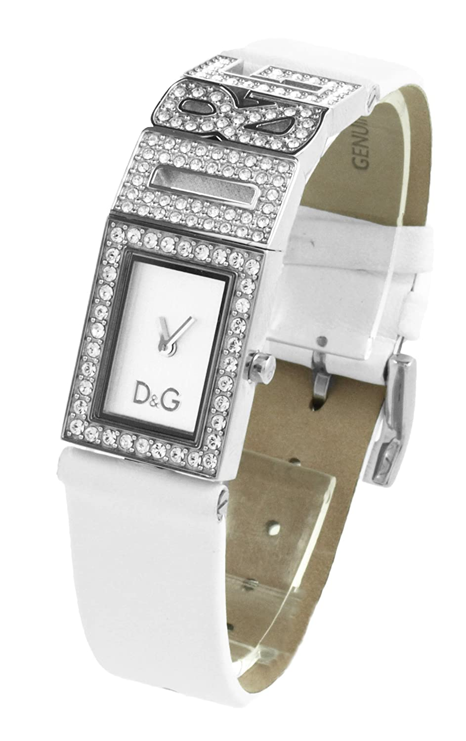 D&G Ladies Shout Quartz Watch DW0506 with Silver Analogue Dial, Stainless  Steel Case With Stones and White Leather Strap: Dolce & Gabbana:  Amazon.co.uk: ...