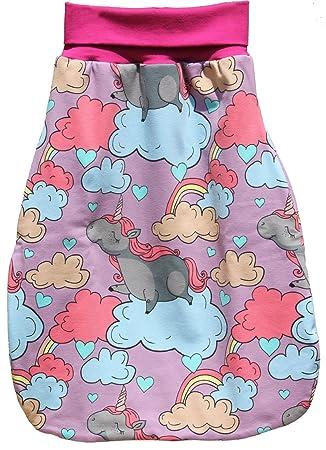 Strampelsack aus Jersey rosa mit  Einhörner Schlafsack Pucksack