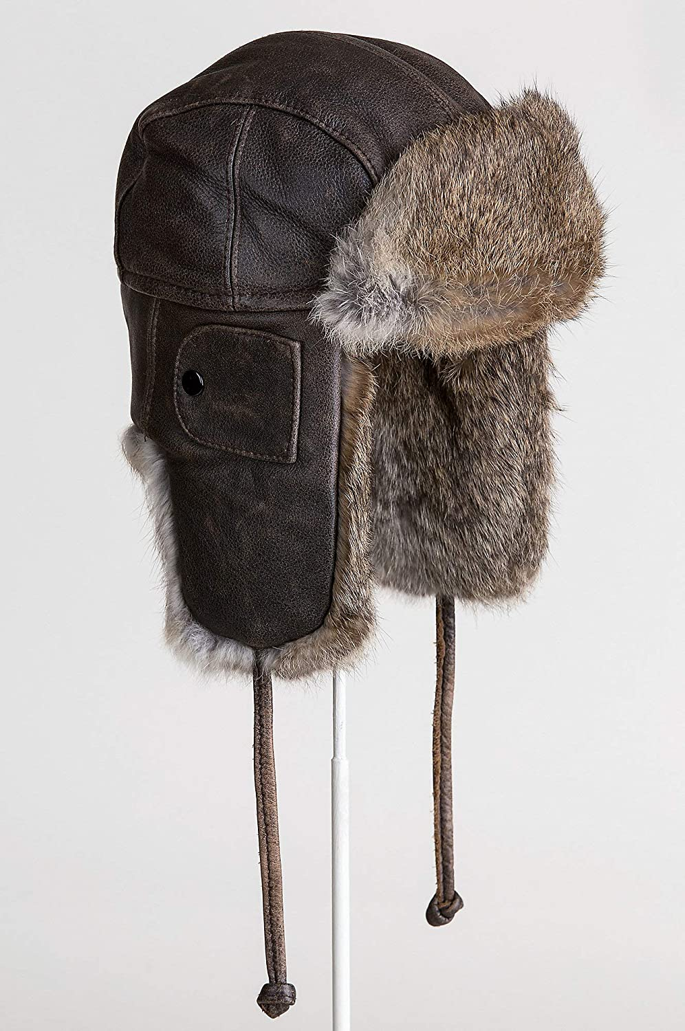 c4b97393a80 Vintage Leather Aviator Hat with Rabbit Fur Trim at Amazon Women s Clothing  store