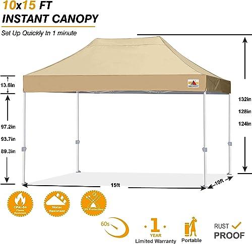 ABCCANOPY Commercial Ez Pop Up Canopy Tent 10×15 Premium-Series