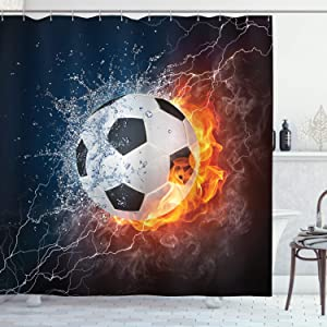 """Ambesonne Sports Shower Curtain, Soccer Ball on Fire and Water Flame Splashing Thunder Strike Abstract Concept Art, Cloth Fabric Bathroom Decor Set with Hooks, 70"""" Long, Navy White"""