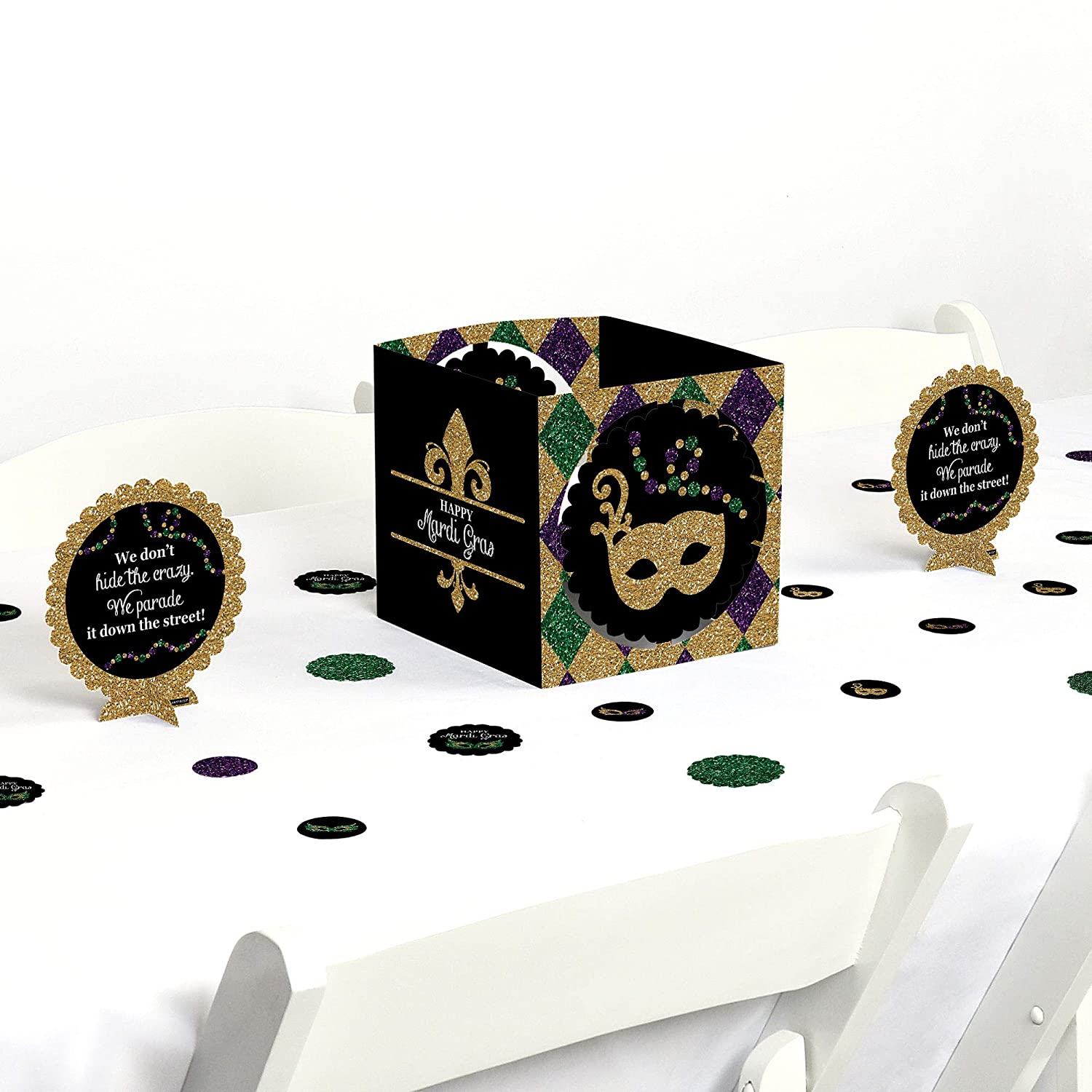 Big Dot of Happiness Mardi Gras - Masquerade Party Centerpiece & Table Decoration Kit