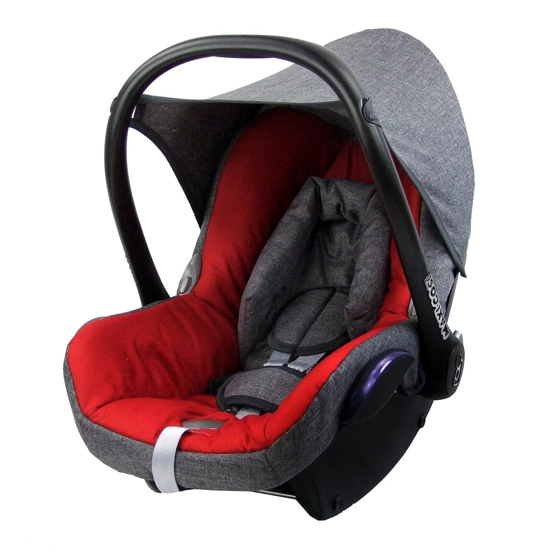 Bezug f/ür Babyschale Komplett-Set BAMBINIWELT Ersatzbezug f/ür Maxi-Cosi CabrioFix 6-tlg GRAU//ROT