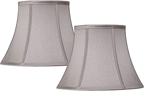 Set of 2 Pewter Gray Bell Lamp Shades 7x12x9 Spider – Springcrest