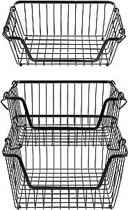 3TierStackableMetal WireStorageBasket,FruitVegetableFood BasketCabinetOrganizerPantryBinforHomeBathroomKitchenOfficeOrganization - Black