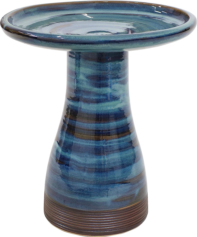 Sunnydaze Outdoor Ceramic Bird Bath - Duo-Tone - High-Fired, Hand-Painted, UV and Frost Resistant Finish - Patio, Lawn, Garden Decorative Birdbath - Galaxy Blue
