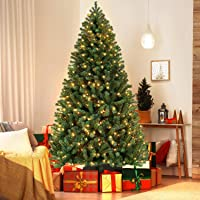 Yaheetech 7.5ft Prelit Artificial Hinged Christmas Pine Tree Prelighted Xmas Tree with Warm White Lights