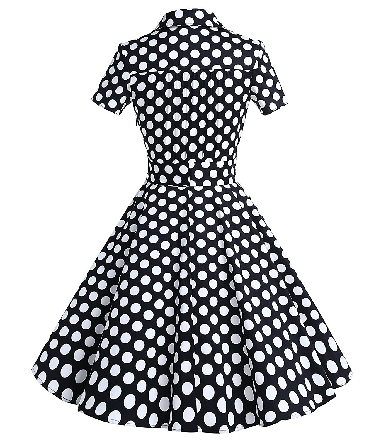 1ca3868d8ef ZAFUL Women 50s Vintage Swing Dress Short Sleeve Lapel Collar V-Neck Midi  Party Cocktail Dress Solid Floral Belt at Amazon Women s Clothing store