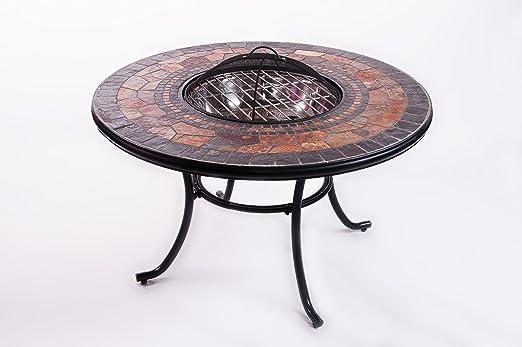 Tavolo Da Giardino Con Barbecue.Mosaic Tavolo Da Giardino Con Braciere Per Barbecue Con Pannello