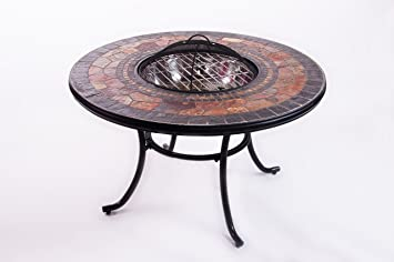 Mosaic Garden Dining Table With Built In Barbecue Fire Pit Includes Panel Spark