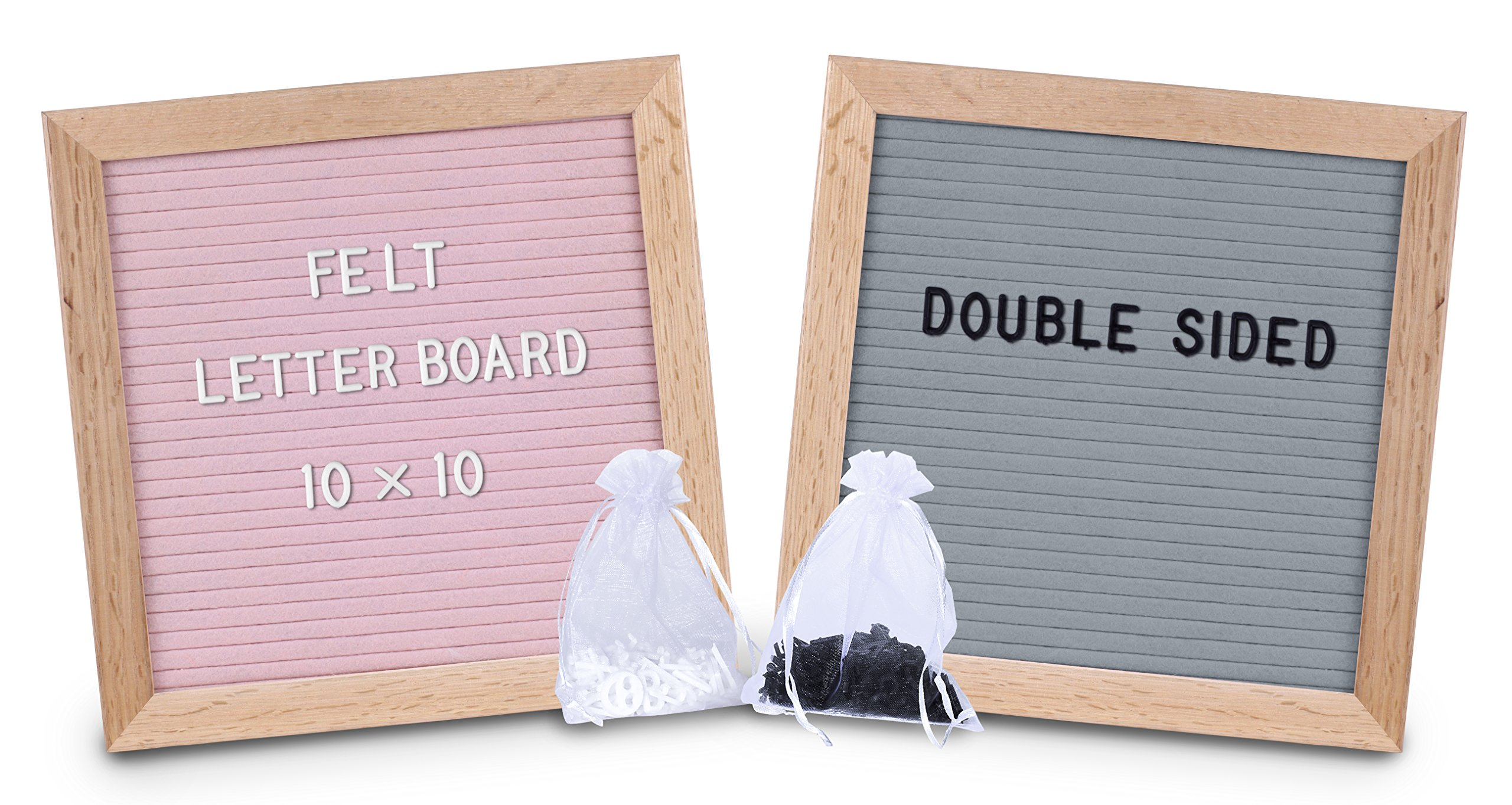 Felt Letter Board, Double sided -10x10, Pink and Grey - block stand, oak wood frame, 2 BONUS sheer bags, 680 white and black letters, special characters, emojis, symbols - for your home, office, shops